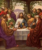 Jesus and disciples in the upper room